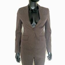Theory Womens Pinstripe Suit Size 0 Brown Blazer Jacket Wool Dress Pants USA