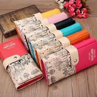 Womens Floral Printed Leather Clutch Long Wallet Purse Cash Card Holder Handbag