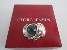 GEORG JENSEN STERLING SILVER JEWELLERY BROOCH 68 GREEN AGATE STONE& BOX