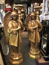 """Pair 48"""" Vintage Fiberglass Angel Candle Stands Newell Post Figure Christmas"""