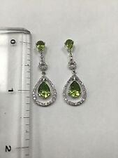 14k Pear Shape Peridot And Halo Diamond Dangling Earrings. August Birthstone