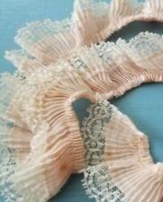 Antique Passementerie Lace Edge Trim Ruched Ribbon Work Pleat Ruffle Peach-Pink
