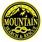 Mountain Search & Rescue Large Round Black on Yellow Reflective Decal Sticker