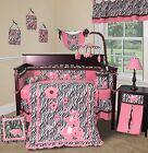 Baby Boutique - Pink Zebra - 13 pcs Crib Bedding Set