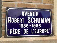 Authentic and vintage French enamelware Rue Schuman Street sign from Paris