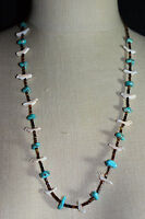 VTG Southwest Tribal Silver Tone Fetish Carved Bird Turquoise Shell Necklace