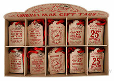 Pack 10 Vintage Desgastado Navidad Etiqueta Marrón Cartulina Para Manualidades