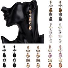 Fashion Womens Lady Crystal Long Earrings Ear Stud Dangle Drop Statement Jewelry