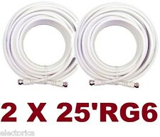 2 X  25' FT WHITE RG-6 SATELLITE CABLE RG6 ANTENNA WIRE HD DTV COAX TV COAXIAL