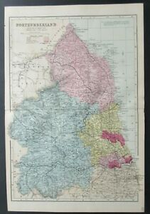 1896 Large map of Northumberland by George W. Bacon