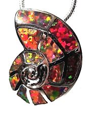 Silver 925 SF Pendant Orange Lab Fire Opal  SHELL