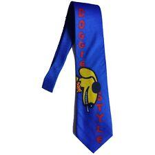 RALPH MARLIN men silk dress neck tie blue DOGGIE STYLE graphics Fun Tie To Wear