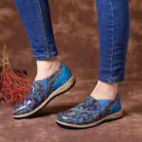 SOCOFY Women Folkways Splicing Pattern Plats Slip On Shoes Boat Flats Loafer *
