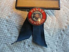 """Old """"Pabst Breweries"""" Name Badge w/Ribbom - Great Graphics"""