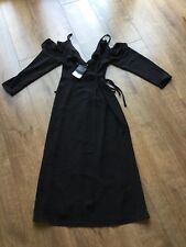 BNWT Ladies Top Shop Smart Black Evening Party Wrap Dress Size UK 6 - RRP £42