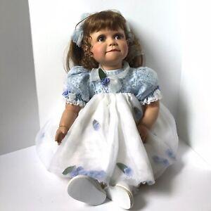 """Virginia E. Turner 2002 Vinyl Girl Doll 26"""" 47/500 Hang Tag Signed Flower Dress"""