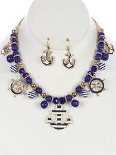 "16"" blue gold marine nautical anchor sea life charm necklace .75"" earrings"