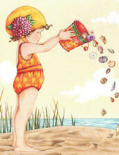 Seashells Bucket Girl-Handcrafted Beach Fridge Magnet-w/Mary Engelbreit art