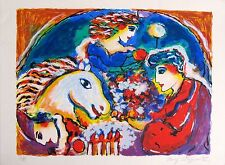 """ZAMY STEYNOVITZ """"LOVERS OVER CIRCUS"""" Hand Signed Limited Edition Art Serigraph"""