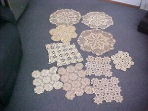 VINTAGE HAND CROCHET DOILIES -LOT OF 10