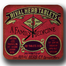 RIVAL HERB TABLETS VINTAGE RETRO STYLE ADVERTISING METAL TIN SIGN WALL CLOCK
