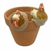 Cockerel & Chicken Pot Hanging Garden Bird Ornaments in Terracotta
