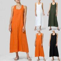 Women Loose U-Neck Sleeveless Cotton Linen Sundress Kaftan Beach Maxi Dress UK