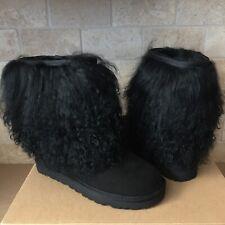 UGG Classic Short Sheepskin Cuff Curly Mongolian Black Suede Boots Size 10 Women