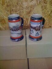 1990 and 1991  bud Budweiser Holiday Christmas Beer Steins Mug man cave
