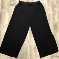 Chicos Travelers Size 2 Black Pants Cropped Womens Large Wide Leg