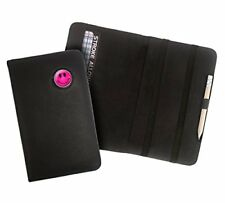 PINK OR YELLOW SMILEY CRESTED BLACK LEATHER GOLF SCORECARD HOLDER BY ASBRI