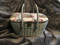 Vintage Wicker Sewing Basket w/Accessories ~ Colorful Peacocks