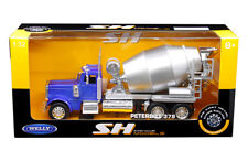 Peterbilt 379 Cement Mixer Semi Truck Die-cast 1:32 Welly 12 inch Blue and Gray
