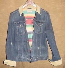 RARE Boy's Polo Ralph Lauren Distressed Aztec Lined Denim Jean Jacket Size Large