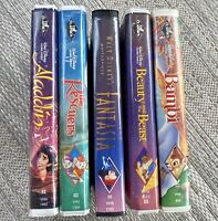 Disney Black Diamond VHS Lot Clamshell RARE Fantasia 1991 Bambi Aladdin Classics