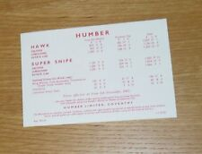 Humber Hawk & Super Snipe Price List 1962