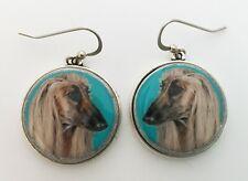 Afghan Hound Dog Original Art Earrings