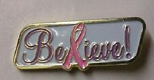Pink Ribbon Breast Cancer Believe Gold Plate Cloisonne Lapel Pin Tac New
