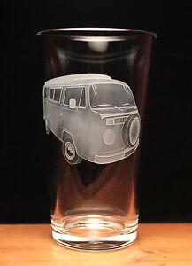Camper Van VW Type 2 Bay Window engraved pint glass gift present