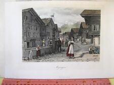 Vintage Print,MERRINGEN,Switzerland,1875,Color,Pictureque America