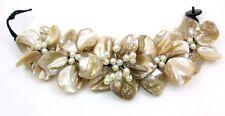 "1.6"" Beige Flower Design Mother of Pearl Shell Beads bracelet 8"" size : AA227"