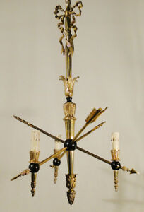 Antique french empire style bronze chandelier Solid chiseled & polished bronzes