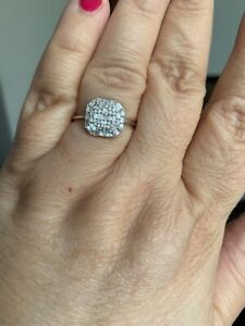 Genuine .50 ctw white  Diamond Rhodium overlay Sterling Silver Ringl