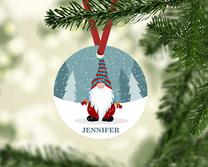 """HOLIDAY GNOME PERSONALIZED MONOGRAM NAME 3.5"""" METAL CHRISTMAS TREE ORNAMENT GIFT"""