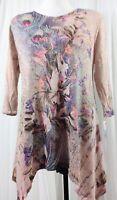 Cactus Women's Embellished Floral Tunic/Top 3/4 Sleeve V-Neck Asymmetrical Sze M