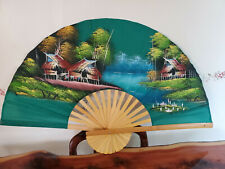 """Large Folding Fan Chinese Japanese Bamboo on Silk Hand Painted 39"""""""