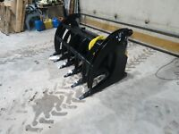"66"" skid steer MS Attachments root rake grapple Heavy Duty Cat Case Bobcat"