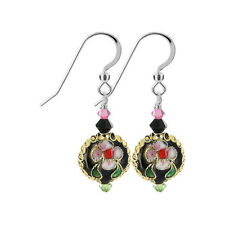 925 Silver Cloisonne Bead 38mm Drop Earrings with Swarovski Elements Crystal