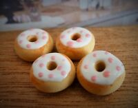 DOLLS HOUSE MINIATURE FOOD HANDMADE * 4 X WHITE DONUTS PINK SPOTS COMBINED P+P