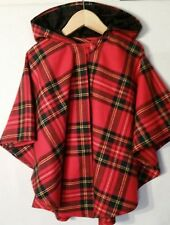 O'Neil of Dublin Ireland Red Wool Tartan Plaid Check Hooded Cape Poncho Small